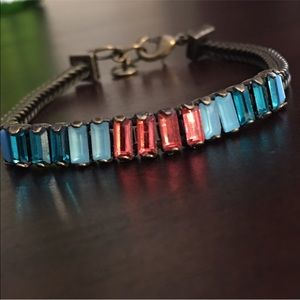 C&I Petite Baguette and Foxtail Chain Bracelet